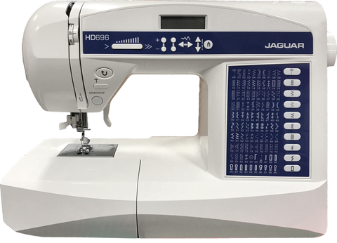 Jaguar HD696 Sewing Machine - Quilting Bundle With Free Walking Foot, Jeans Needle Pack, Extension Table And Hard Cover