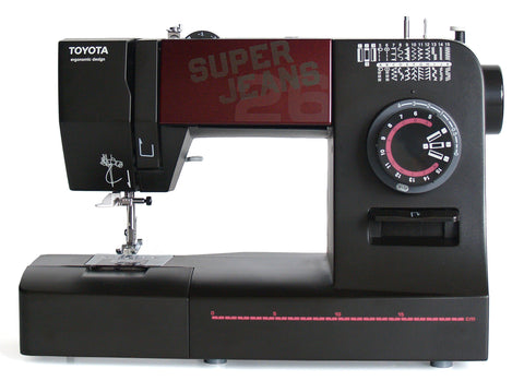 Toyota * Power Range * Super Jeans 26 Sewing Machine (Black) - Free Glide Foot, Sews Silk To Leather - Showroom model