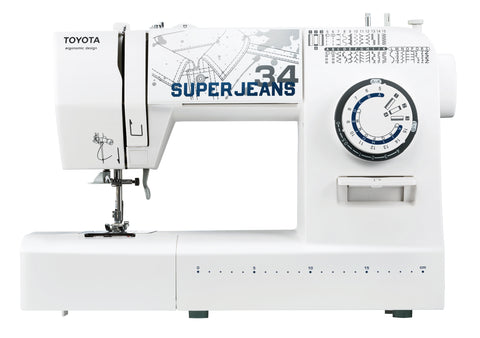 Toyota * Power Range * Super Jeans 34 Sewing Machine (White) - Free Glide Foot, Sews Silk To Leather