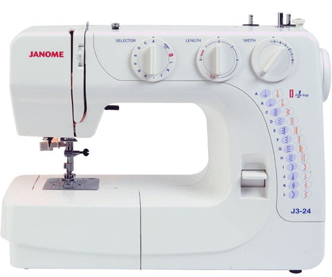 Janome J3-24 Sewing Machine * Drop Feed + 1 Step Buttonhole + Stitch Length And Width Control + Hard Cover