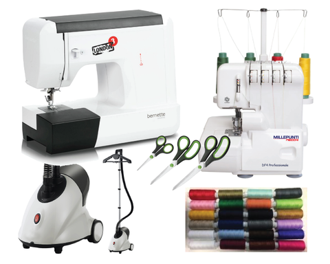 BERNINA LONDON FASHION PACKAGE - Bernina Bernette Sewing Machine, DF4 Overlocker, Garment Steamer, Threads & Scissor Set