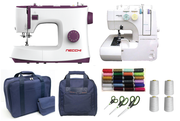 Sewing Bee Bundle - Necchi Powerstitch 132 Sewing Machine & Jaguar 096/098 Overlocker + FREE accessories