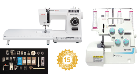 Toyota Platinum Bundle - Jeans 34CT Sewing Machine & SL3314 Overlocker - Includes 16 Sewing Foot Set + Denim Sewing Set & Extension Table for Sewing Machine - save £300