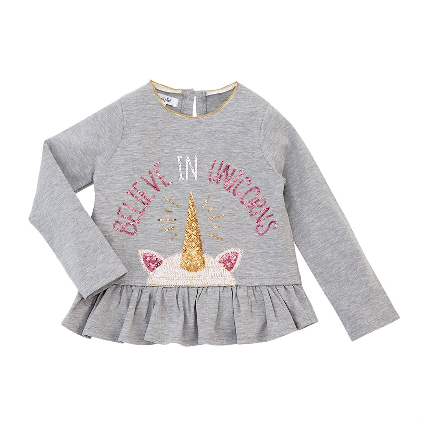 Believe in Unicorns Sequin Ruffle Tee