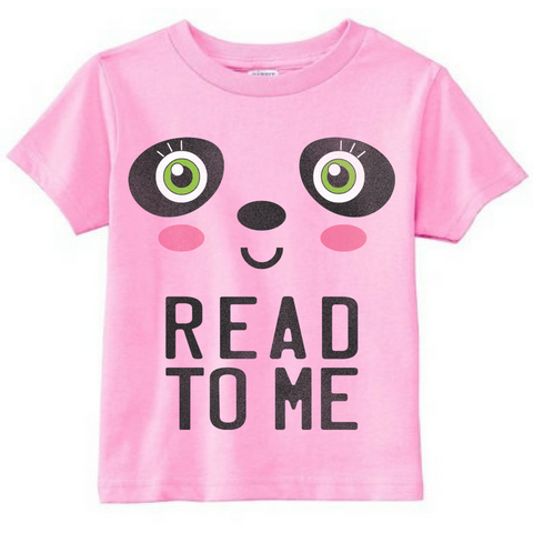 Preprinted Toddler Girl Long Tee- Panda Face- Read to Me
