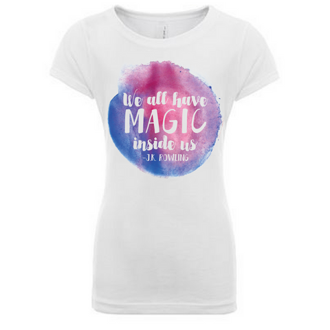 Preprinted Girls Long Tee-We All Have Magic
