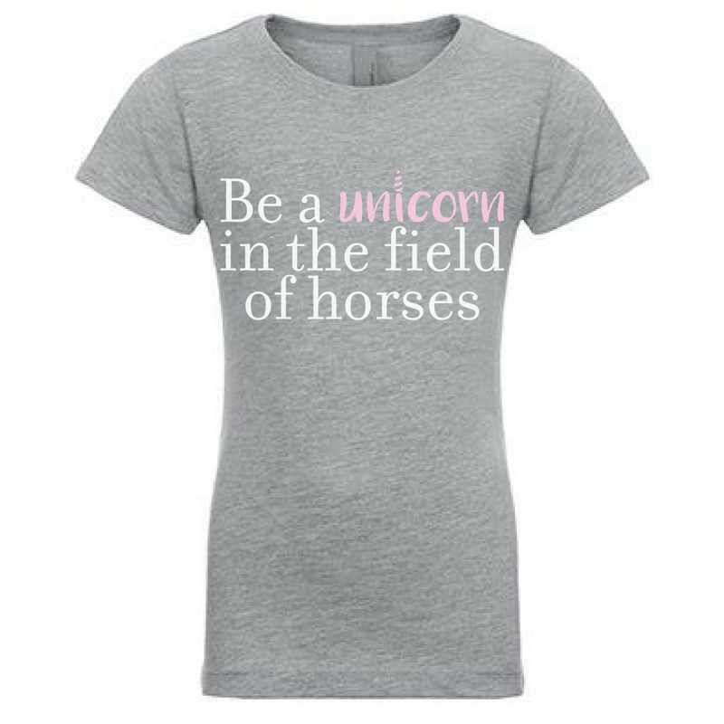 Preprinted Girls Long Tee- Words Be a Unicorn in the field of horses