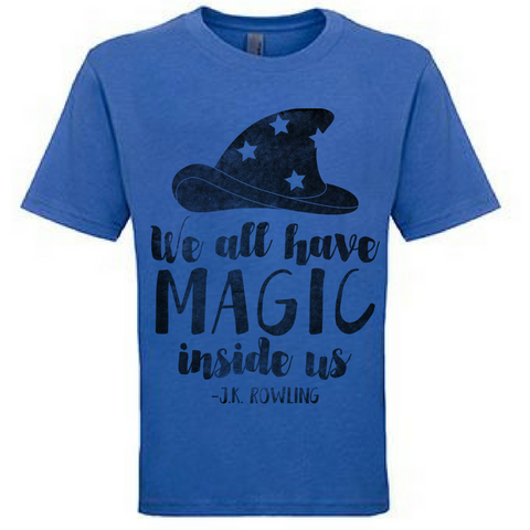 Preprinted Unisex Vintage Tee: Magic with Hat