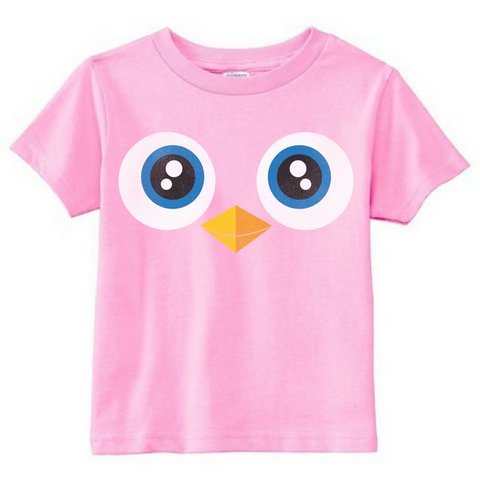 Preprinted Toddler Girl Long Tee-Owl Eyes