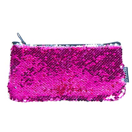 Magic Mini Sequin Pouch - Neon Pink/Silver