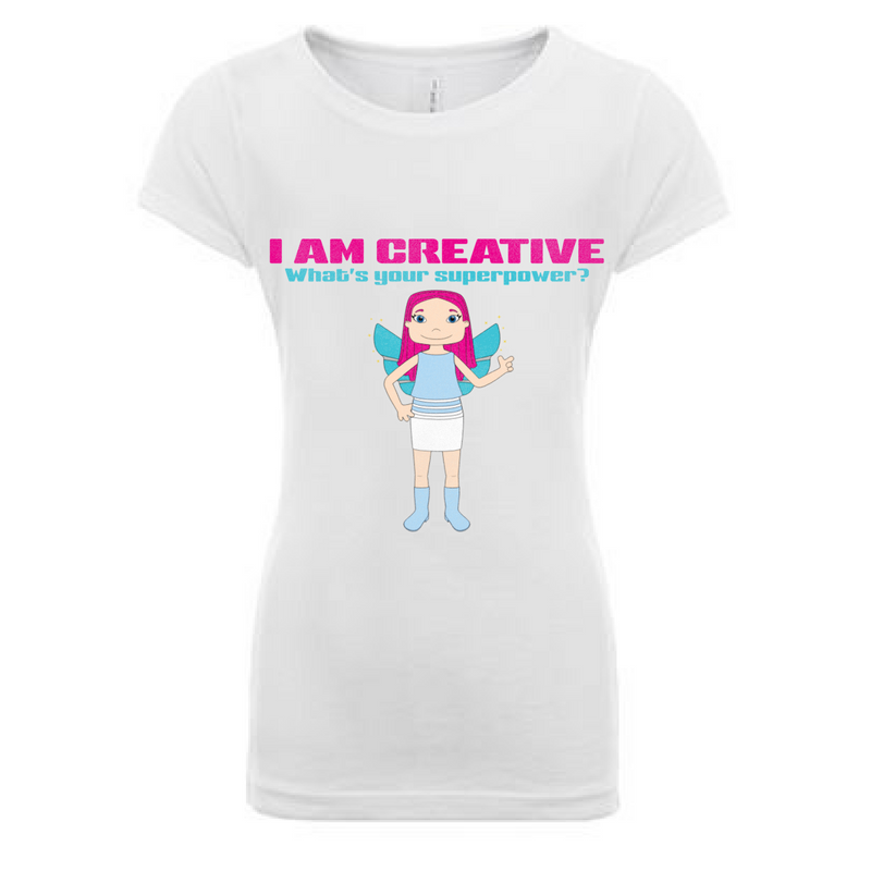 Preprinted Girls Long Tee-I AM CREATIVE