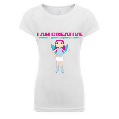 Preprinted Toddler Girls Long Tee- I AM CREATIVE