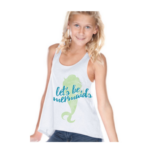 Preprinted Girls HL RacerBack Fashion Tank- Lets be Mermaids
