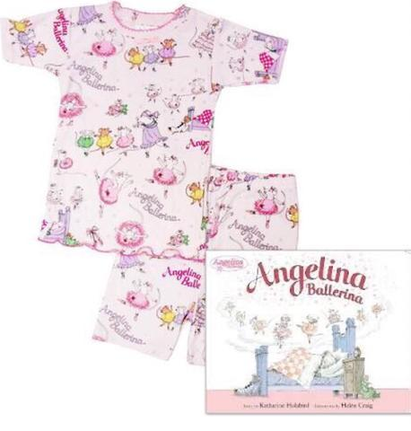 Angelina Ballerina - Short Johns Pajamas and Book Set