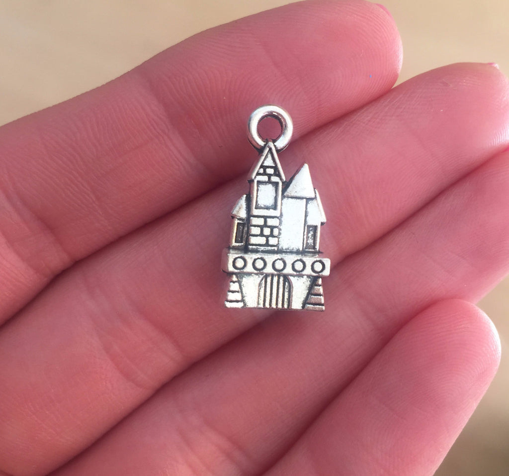 Castle Charm- Antique Silver Tone