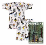 Madeline - Girls Two-Piece Fitted Short Johns Pajamas and Book Set