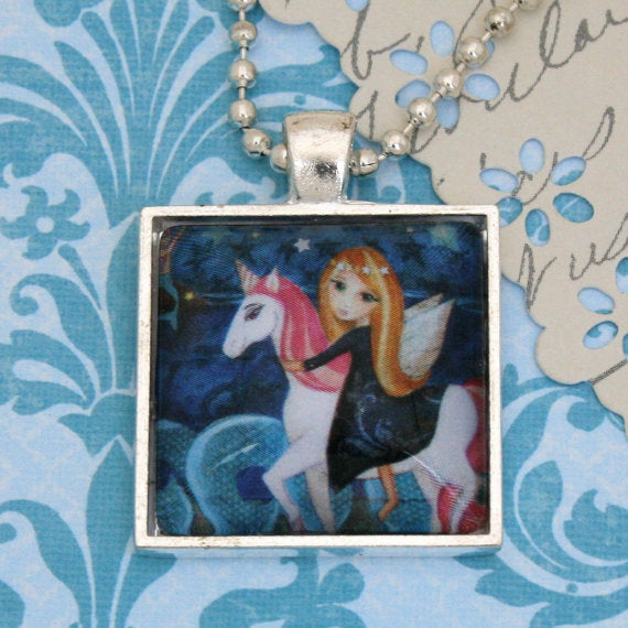 Unicorn Necklace Square Pendant