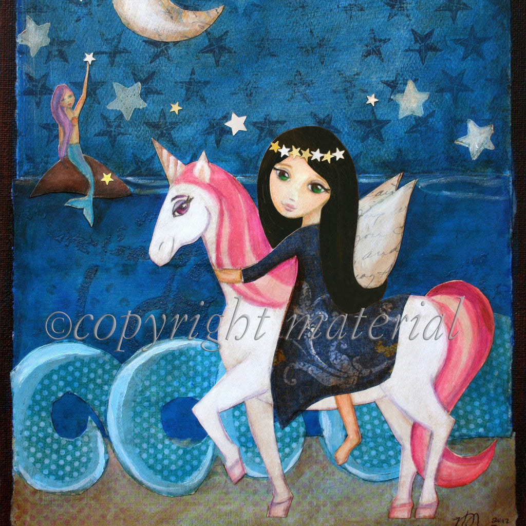 Black Haired Fairy with Unicorn Wall Art
