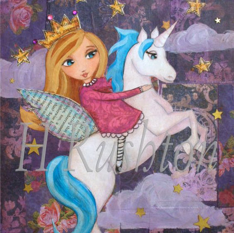 Blue Unicorn and Blond Fairy Wall Art