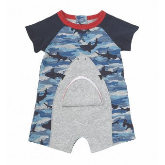 Camo Shark Raglan One Piece