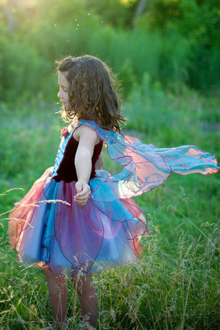 Fairy Blossom Dress, Blue/Magenta, Size 5-6