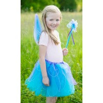 Fancy Flutter Skirt with Wings & Wand, Blue, Size 4-7