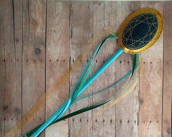 Wand - Oval Teal and Glitter Gold