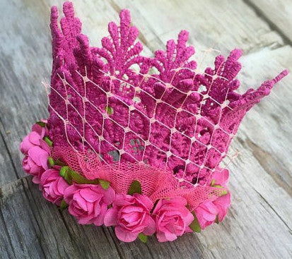 Kids Small Pink Lace Crown