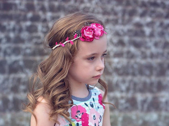 Bright Pale Pink Floral Halo Tieback
