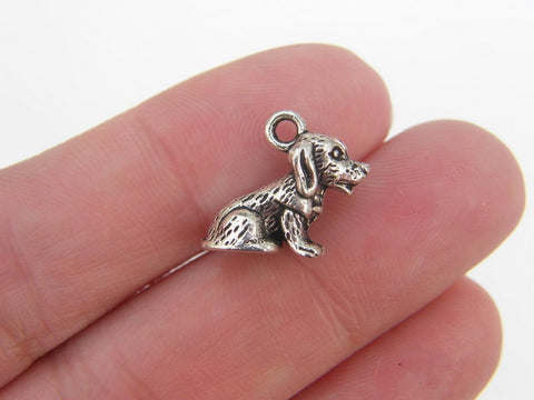 Dog Charms Antique Silver Tone