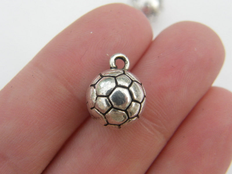 Soccer Ball Charms Antique Silver Tone
