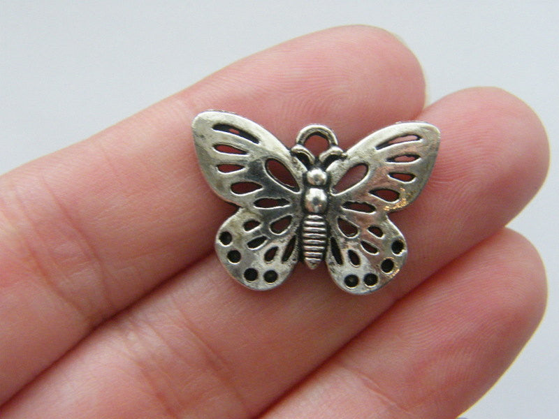 Butterfly Charms Antique Silver Tone