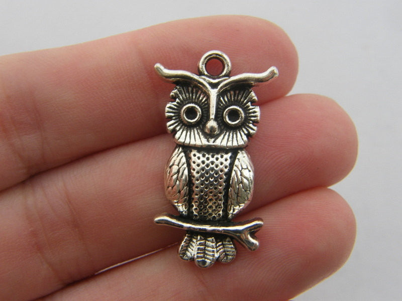Owl Charms Antique Silver Tone