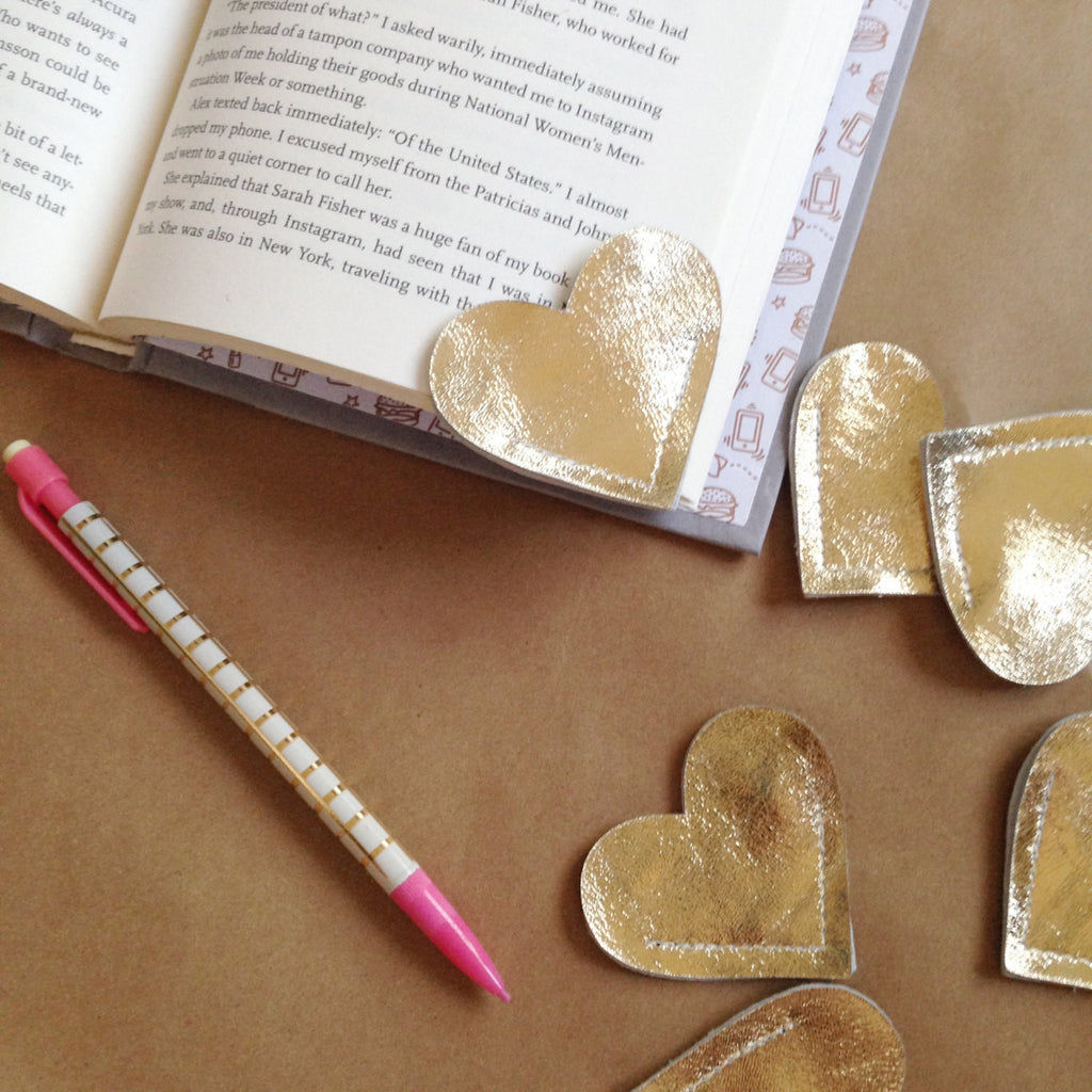 Leather Heart Bookmarks