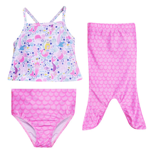 Pink Mermaid Swimsuit 3pc