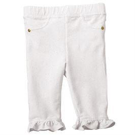 White Glitter French Terry Ruffle Capris