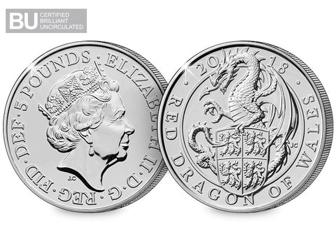 2018 Red Dragon of Wales CERTIFIED BU £5 Coin