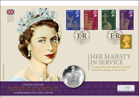 Her Majesty in Service £5 Coin Cover - The Westminster Collection International