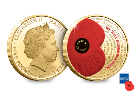 2017 Remembrance Gold-Plated £5 Poppy Coin