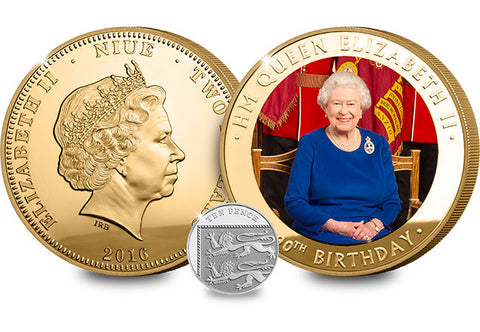 The Queen's 90th Birthday Gold-Plated Supersize Coin - The Westminster Collection International
