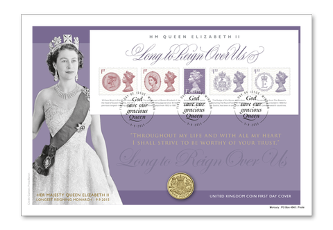 The UK Longest Reigning Monarch Coin Cover - The Westminster Collection International