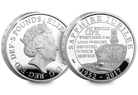 UK 2017 Sapphire Jubilee £5 Silver Proof Coin