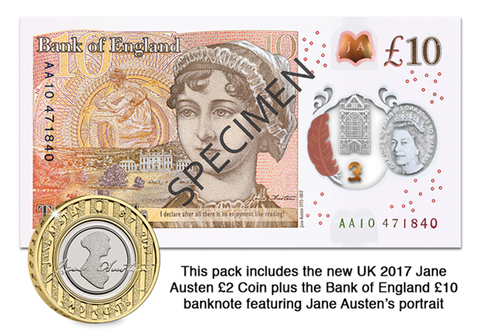 Jane Austen £2 Coin and £10 Banknote Pack - The Westminster Collection International