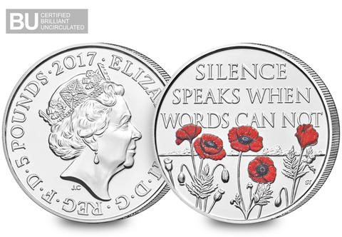 2017 Remembrance Day CERTIFIED BU £5 Coin