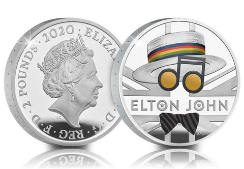 UK 2020 Elton John 1oz Silver Proof £2 Coin