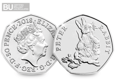 2018 UK Peter Rabbit CERTIFIED BU 50p - The Westminster Collection International