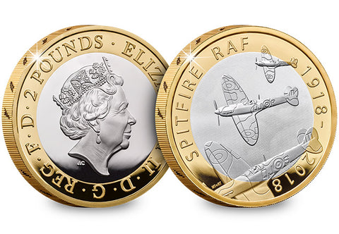 UK 2018 RAF Spitfire Silver Proof £2