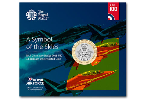 UK 2018 RAF Centenary Badge £2 BU Pack