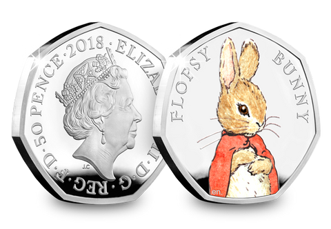 UK 2018 Flopsy Bunny Silver Proof 50p