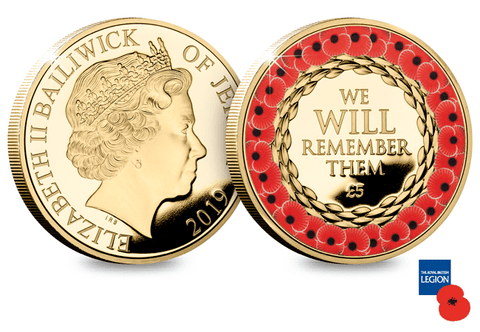2019 Remembrance Poppy Gold-Plated £5 Proof Coin - The Westminster Collection International